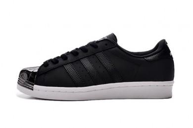 Adidas Superstar 80 metales zapatillas de deporte del dedo del pie negro/plata