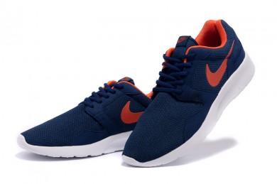 Zapatos de la zapatillas Nike Roshe Run para hombre Midnightazul/naranja-rojo