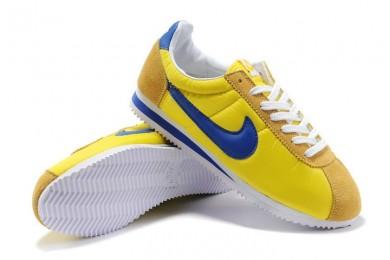 las zapatillas de deporte Nike Classic Cortez Nylon para hombre azul amarillo de la vendimia