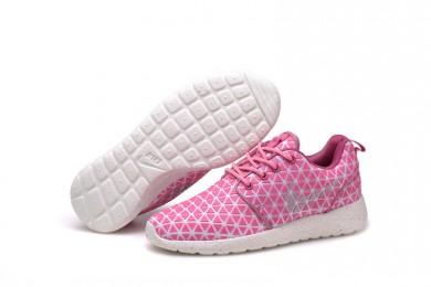 Nike Roshe Run Triángulos rosa/blanco formadores zapatillas de deporte para mujer