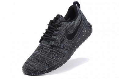 Nike Roshe Run Flyknit para hombre Negro/Gris Pizarra Oscuro Zapatos de la zapatillas