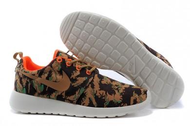 Nike Roshe Run de color caqui oscuro/naranja/formadores Negro zapatos