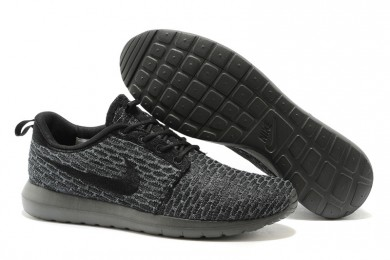 190b1d2449 ... where to buy nike flyknit roshe run para hombre todas negros grises dim  formadores zapatillas de
