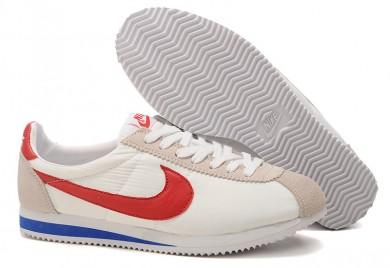 zapatillas de deporte Nike Classic Cortez Nylon Blanco Beige Azul Rojo para mujer