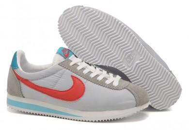 Nike Classic Cortez Nylon zapatos formadores Universidad Rojo Azul Gris para mujer