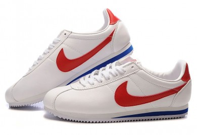 Nike Classic Cortez de piel 09 trainers Azul blanco rojo para las mujeres
