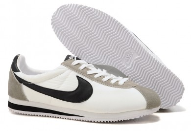 zapatos Nike Classic Cortez Nylon Negro Blanco Gris para mujer