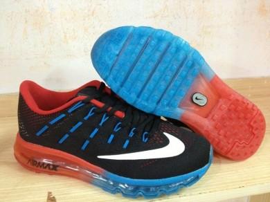 Nike Air Max 2016 Zapatos de la zapatillas Negro/naranja-rojo/blanco/azul de los Dodgers para hombre