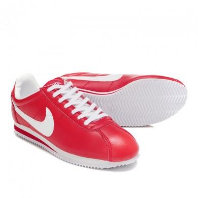 Nike Classic Cortez Cuero 09 Zapatos de la zapatillas Blanco Rojo para mujeres
