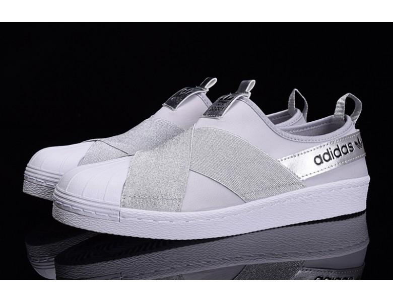 Proceso de fabricación de carreteras calidad Abuso  baratas Adidas Superstar SLIP ON blanco plata/gris zapatos formadores